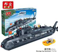 Banbao Model building kits compatible with lego city military submarine U boat 3D blocks Educational toys hobbies for children