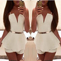 Women Fashion Summer Jumpsuit Slim Fit Sleeveless Sexy V Neck Chiffon Rompers Shorts Beachwear Backless Ruffles Overall Playsuit