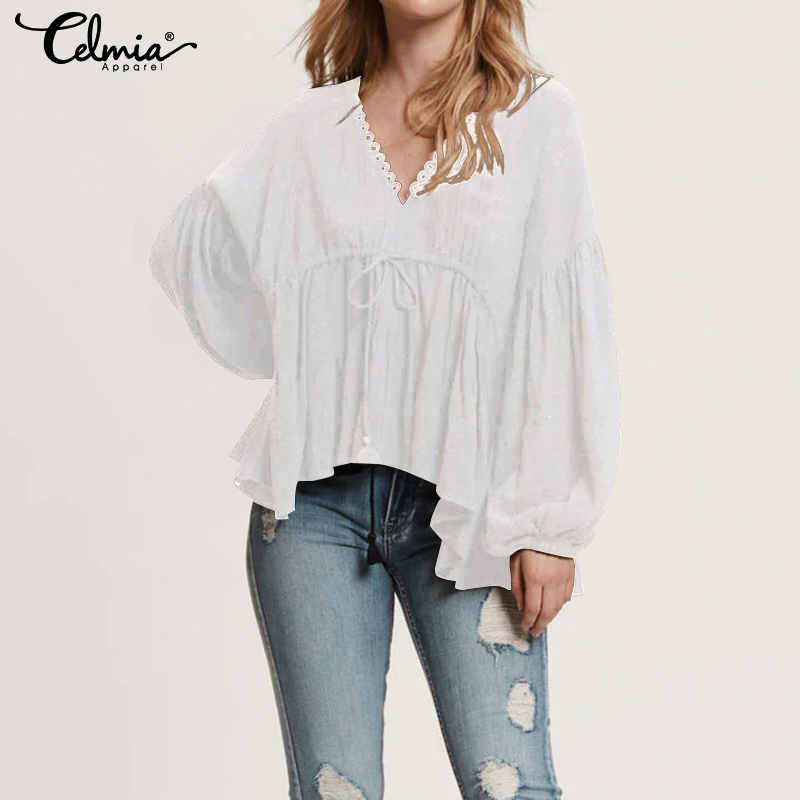 2019 Top Fashion Women Casual Sexy V Neck Blouses Shirts Celmia Lace Long Sleeve Tunic Tops Irregular Ruffled Blusas Mujer S-5XL(China)