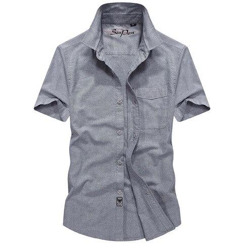 2018 Summer Military Solid Shirt Men Cotton Casual Short Sleeve Chemise homme Plus Size M-4XL Mens Shirts Camisa masculina Karachi