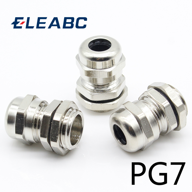 3 Pcs Stainless Steel PG7 3.0-6.5mm Waterproof Connector Cable Gland
