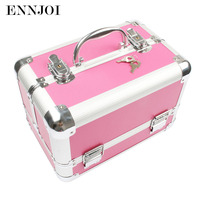 295*190*200MM Multifunctional portable cosmetic box leather Aluminum Alloy hairdressing toolbox tool case