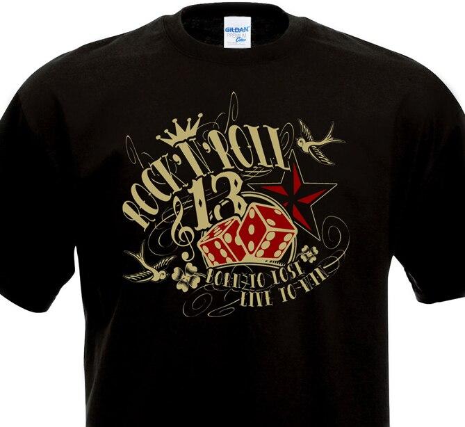 2018 New Arrival Mens Summer Trendy Mens Hip Hop Short Sleeve Tee Tops 13 Des Luck Tattoo Rockabilly Design T-Shirt