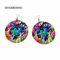 DIY Handmade Wood Africa Blue Girl Mysterious Colorful Painting Round Vintage Earrings  Wooden African Bohemia Afro Ear Jewelry