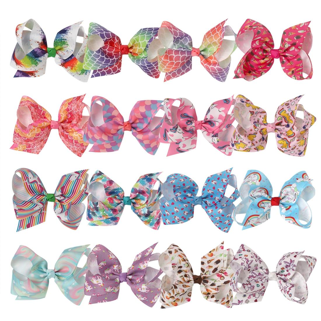 "1pcs Kids Large 8/"" Unicorn Pony Ribbon Rainbow Hairgrip Hair Bow clips For Girls"
