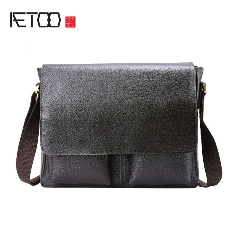 AETOO Men 's Leather Men' s Leather Shoulder Bag Messenger Bag Large Capacity Leisure Bag Dual - use Bag playeagle men
