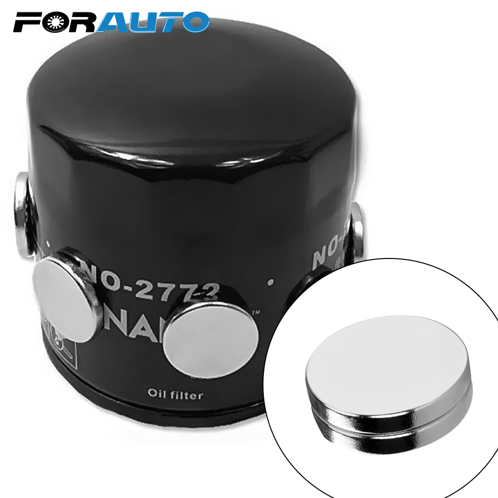 FORAUTO 2 Pcs Magnet Fuel Economizer Car Engine Oil Filter ATV SUV Motorcycle Engine Oil Saver For Iron Body Strong Adsorption