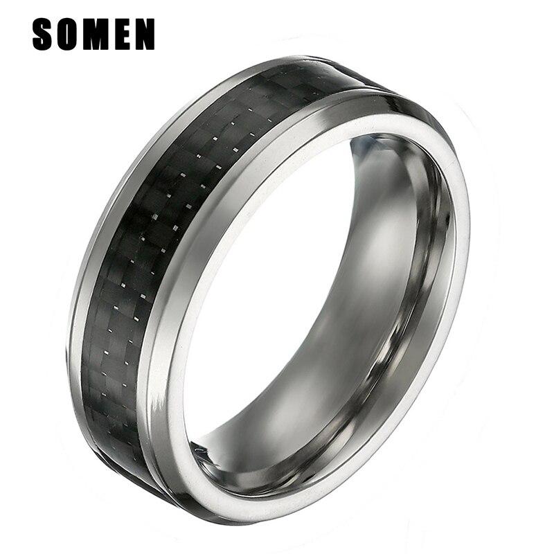 Somen 8mm Titanium Ring Male Black Carbon Fiber Inlay ...