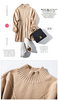 New autumn/winter 2019 pure color 35% goat sweater artistic twist soft thickening sweater loose slightly high collar primer