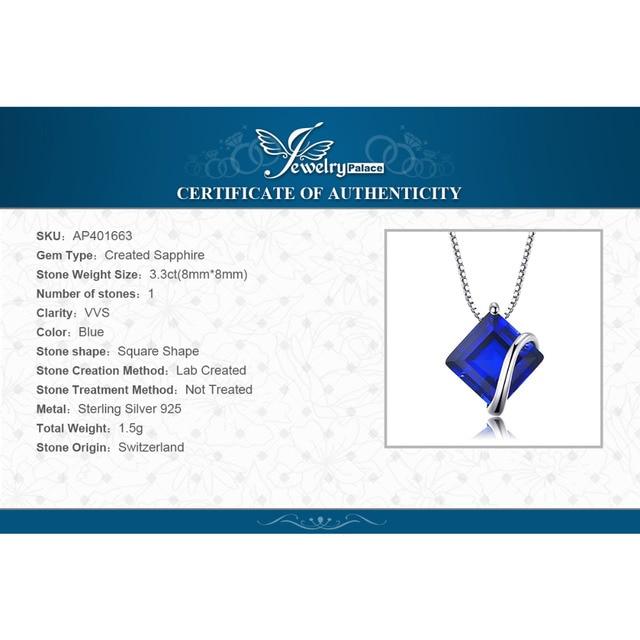 JewelryPalace Classico 3.3ct Piazza Creato Sapphire Ciondolo In Argento Sterling 925 Pendenti e Ciondoli di Fidanzamento Dei Monili di Cerimonia Nuziale Senza Catena