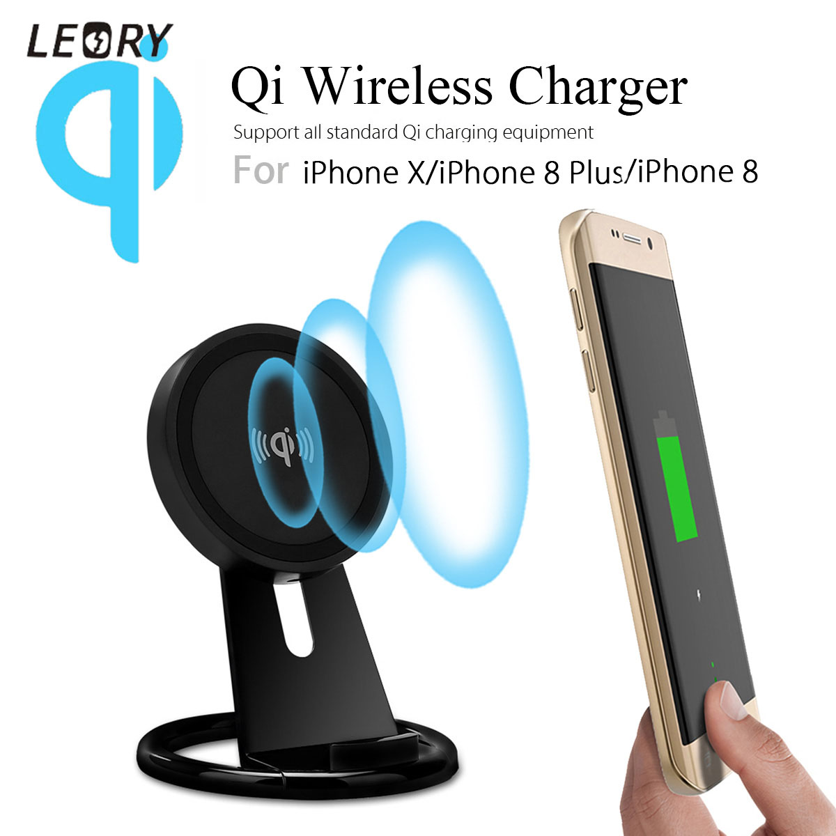 5W Adjustable Desktop Phone Holder Stand Qi Wireless Charger Holder Mount Mobile Phone Charging Pad Up Down with LED Light
