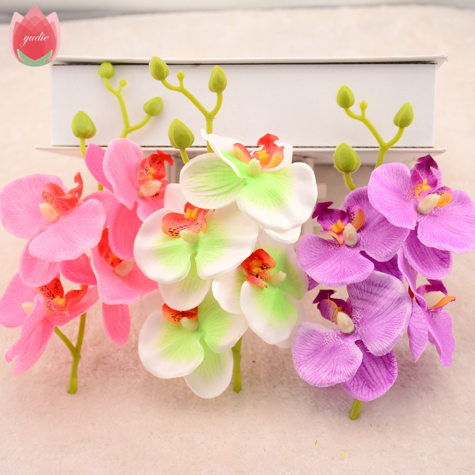 2pcslot silk artificial orchid bouquet for home wedding party 2pcslot silk artificial orchid bouquet for home wedding party decoration cheap cymbidium scrapbooking supplies orchis plants izmirmasajfo
