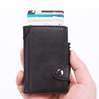 Business RFID Blocking Travel Card Wallet Man and Women Automatic Pop up Click Slide Credit Card Holder Leather Bank Kart Holder