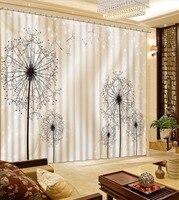 Cortinas blackout 3D Luxo abstrata dandelion Quarto Quarto Sala de estar cortinas de Janela de estilo Europeu de alta qualidade