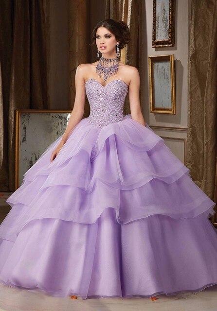 Sexy de cristal frisada lavanda vestidos quinceanera 2017 sweet 16 vestidos de princesa 15 anos vestidos de festa vestido de 15 años