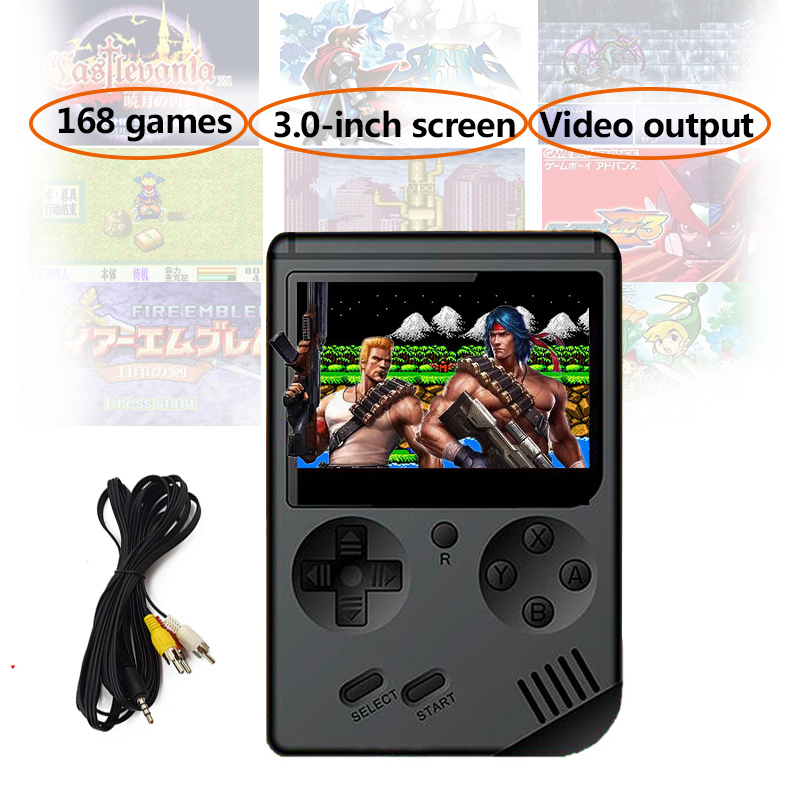 NEW HOT Retro Game Console Childhood Classic Game With 168 Games 3.0 Inch 8-Bit Portable Handheld Game Console good gift for kid