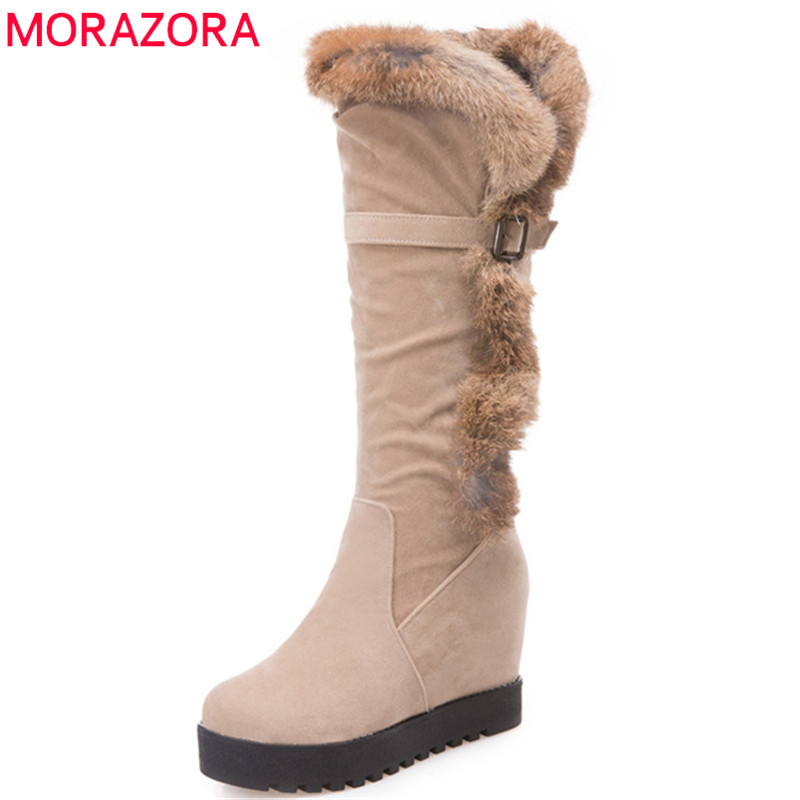 MORAZORA 2018 new arrival mid calf boots women round toe keep warm winter snow boots comfortable fashion shoes woman black winter women boots basic fashion round toe comfortable flat shoes female footwear mid calf warm boots popular wholesale dgt674