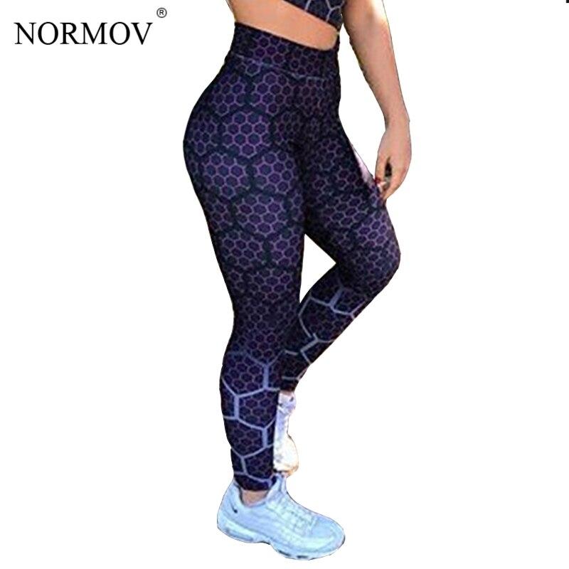NORMOV Fashion Honeycomb Printed Christmas Leggings Women High Waist Fitness Legging Push Up Jeggings Pants Women