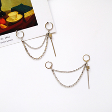 European and American style trend metal texture simple personality fashion jewelry chain tassel earrings for women