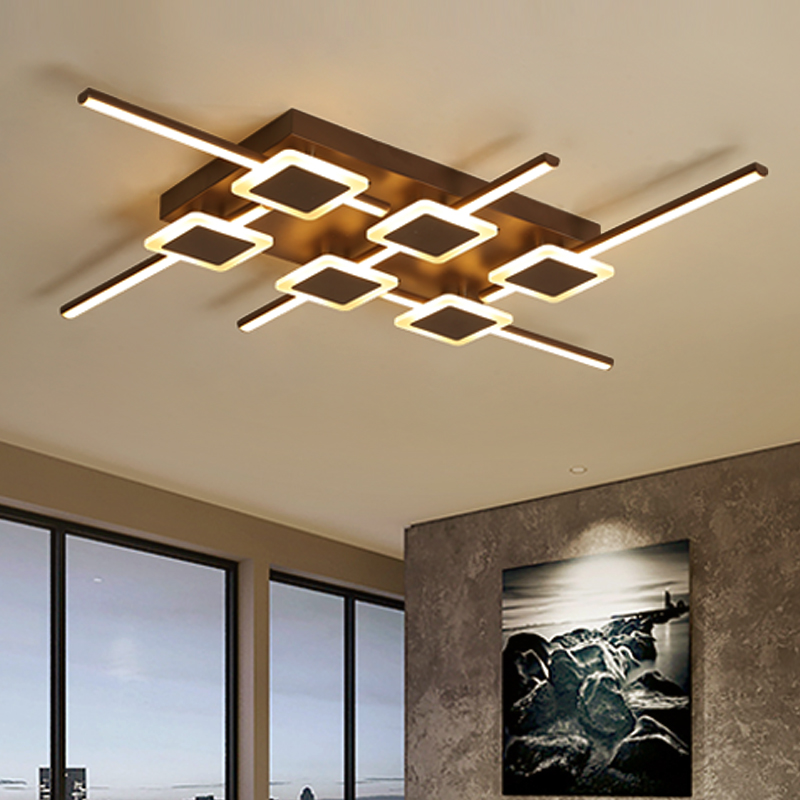 brown color Rectangle Modern LED Ceiling Lights For Livingroom Bedroom plafond Ceiling Lamp home lighting lampara techo Fixtures rectangle remote control led ceiling lights for livingroom dining bedroom ceiling lamp home lighting lamparas de techo plafond