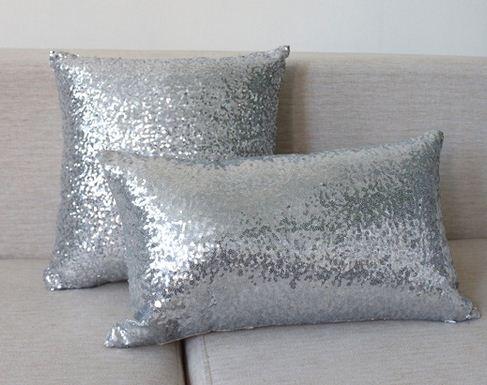 Sofa Silver Throw Pillows Decorative Cushions Cover Sequin Pillow Delectable Silver Sequin Decorative Pillow