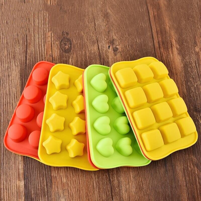 12 רשת סיליקון שוקולד עובש מגש Creative כוכב/לב/עגול/מרובע בצורת קרח קוביית עוגת קישוט עובש