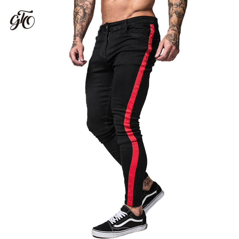 Gingtto Side Striped Skinny   Jeans   Men 2018 Hip Hop Men   Jeans   Slim Fit Brand Biker Style Denim Tight   Jeans   Black Taping Male zm35