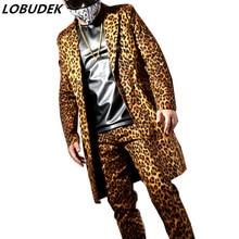 Fashion Leopard Printing Long Suit Jackets Blazers Men's Suits Bar Nightclub Singer DJ Stage outfit Rock Hip Hop Rock Costumes