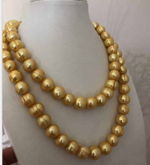 stunning 10-12mm south sea baroque gold pearl necklace 38inch 14k single 38inch 11 12mm south sea baroque white pearl necklace shipping free