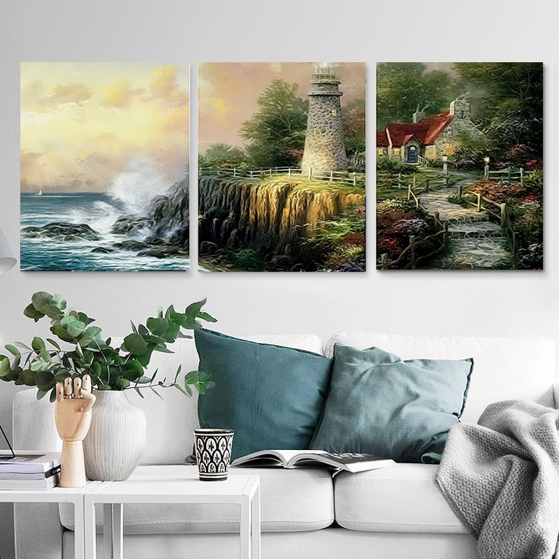 40X50CM Home Decor Hand Painted Canvas Triptych Oil Paintings Wall Pictures For Living Room Coast Sunset Painting By Number