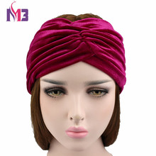 2017 Women Fashion Velvet Headband Twist Elastic Hair Band for Ladies Stretch Turban
