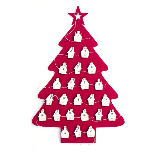 Christmas Countdown Calendar.Us 7 72 22 Off Aliexpress Com Buy Felt Advent Calendar Decoration Christmas Tree Countdown Calendar Hanging Ornaments Date1 24 Christmas Countdown