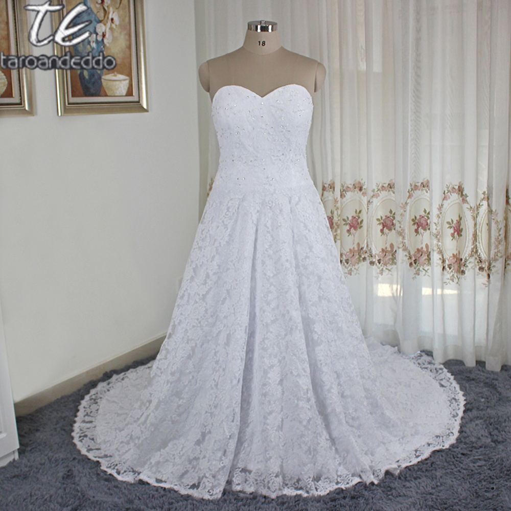 2018 Fashion Simple Beige Wedding Dresses Full Sleeve: 2018 Sweetheart Neckline France Lace Ball Gown Plus Size