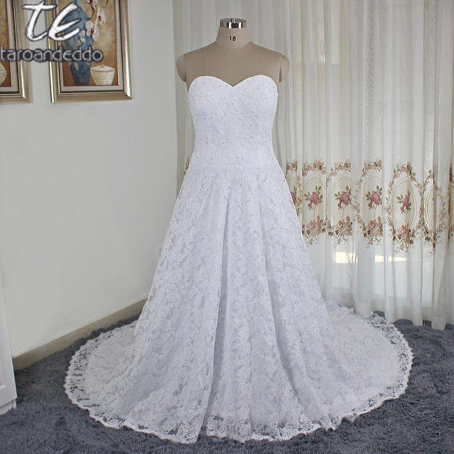 2018 Sweetheart Neckline France Lace Ball Gown Plus Size Wedding