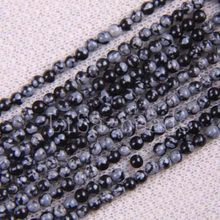 "Fashion Jewelry Round 3MM Black Snowflake Obsidian Loose Beads Strand 15.5"" A438(China)"