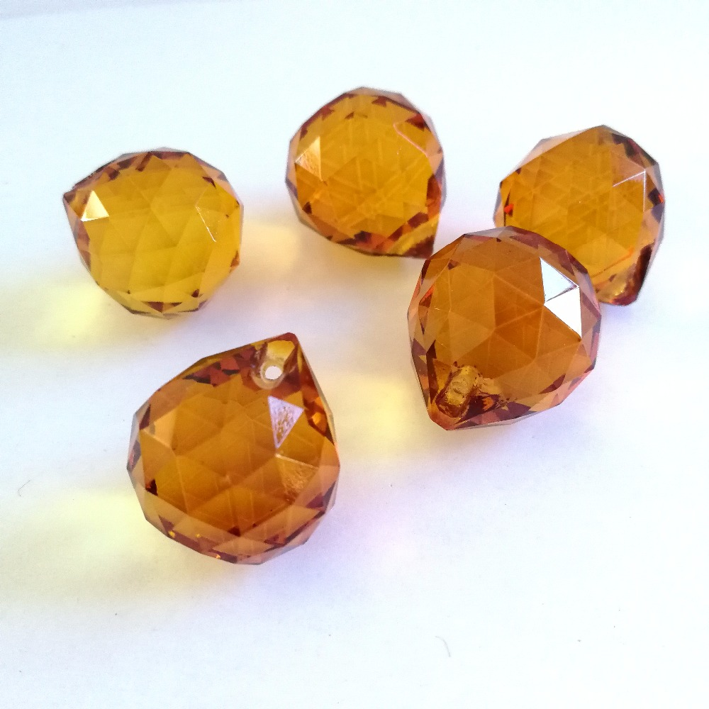 Amber 20mm 30pcs Crystal Faceted Ball Glass Lighting Hanging Balll Glass K9 Suncatchers For Home & Garden,Party Decoration