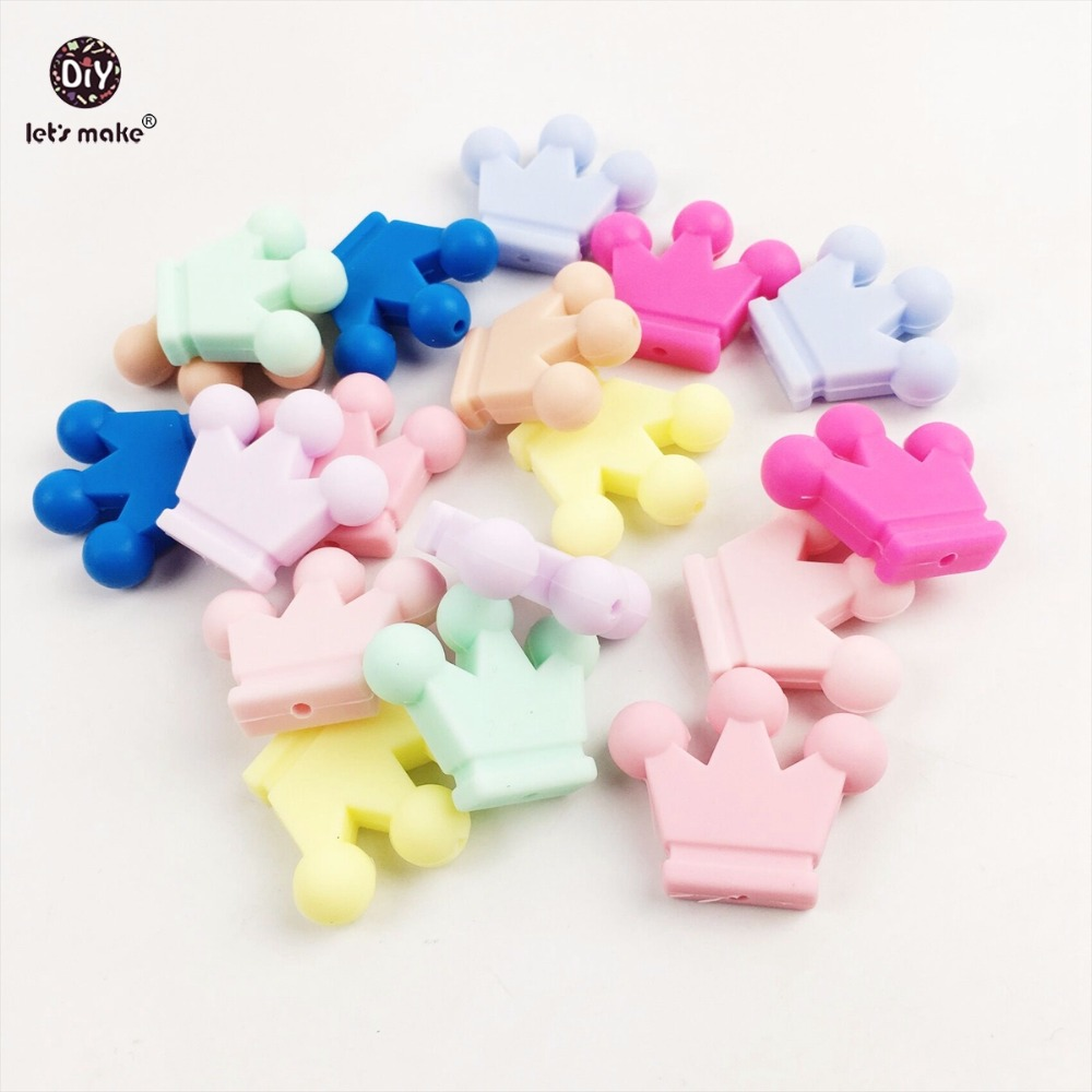 Lets Make Baby Teether Silicone Cartoon Crown Unfinished Silicone Crown 20PC Silicone Sensory Grasping Toys Diy Necklace Gift