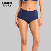 Charmleaks Swim Trunks Women Bikini Bottom Ban Solid Color Swimwear Briefs Split Cutout Swimming
