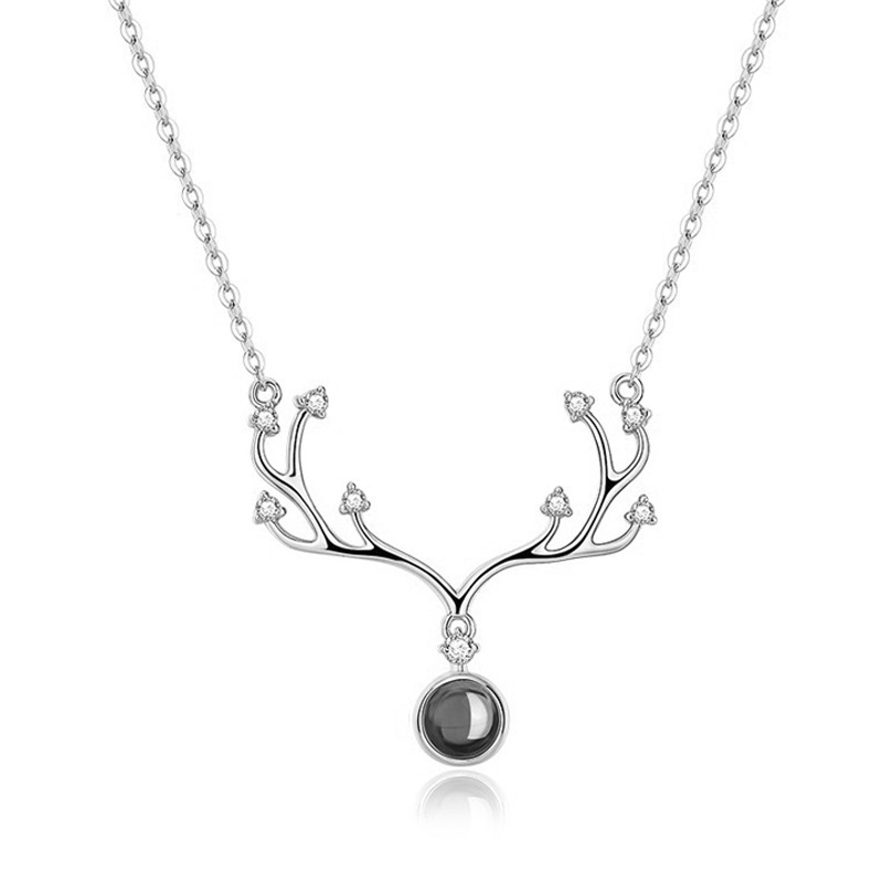 S925 sterling silver vibrato deer necklace a deer has your necklace female 100 languages 520 I love you antler necklace in Pendant Necklaces from Jewelry Accessories