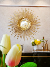 European sunglasses wall hanging decoration restaurant light luxury mirror wrought iron decorative background