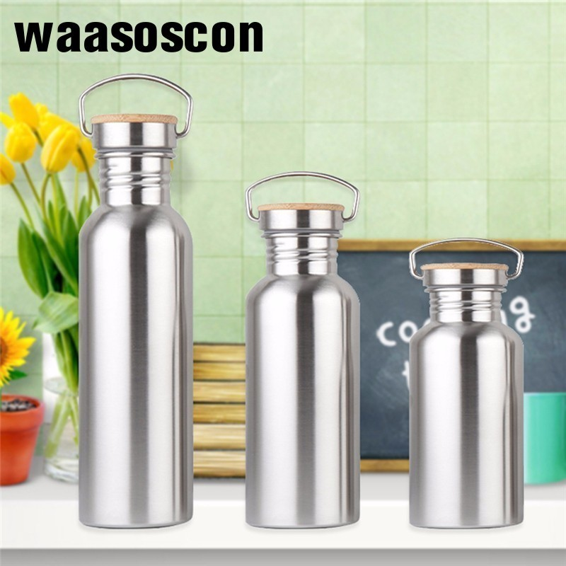 Promotion Stainless Steel Water Bottle Bamboo Lid Sports Flask Leak-proof Food Jar for Travel Yoga Cycling Hiking Camping