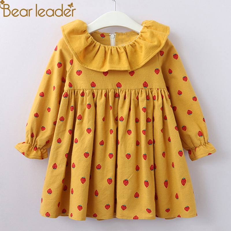 Bear Leader Girls Dress New Autumn Casual Style Cartoon Long Sleeve Dot Pettern Turn-domn Collar Design for Girls Clothes retro style long sleeve round collar belted solid color dress for women