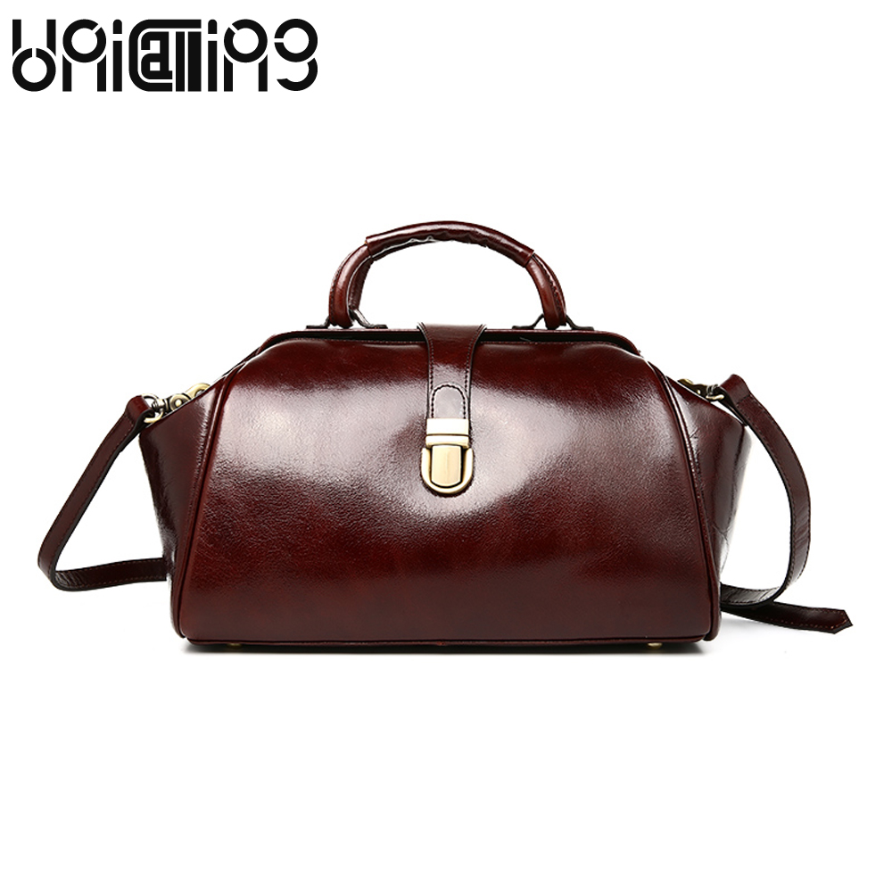New style Oil Wax Cowhide women bag Retro ladies handbags Top grade lock catch women messenger bags fashion brand shoulder bags 2017 autumn and winter new women genuine leather handbags female bags oil wax cowhide handbags fashion shoulder messenger bags