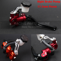 ADELIN Red&orange 7/8 17.5mm Hydraulic Front Brake Master Cylinder for 250cc 450cc dirt bike supermotor Adjustable Lever Right