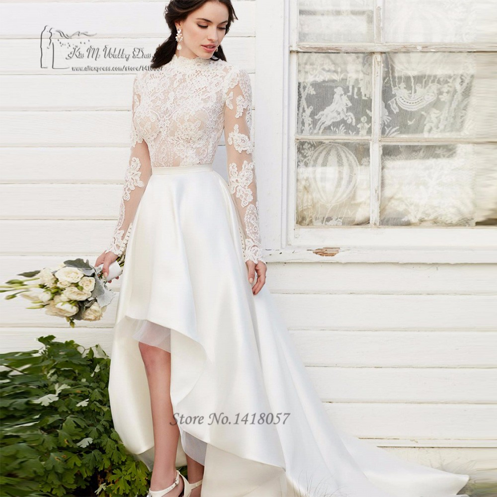 b86ea85dce0f6 boho ارتفاع منخفض فساتين الزفاف جبهة قصيرة طويلة عودة كم طويل الدانتيل  العروس فساتين 2017 الرقبة العالية أثواب الزفاف رداء دي mariee