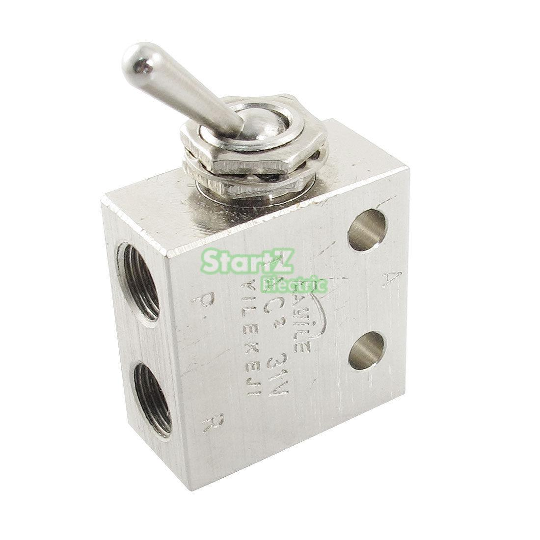 1/8PT Thread 2 Position 3 Way Rectangle Mechanical Air Pneumatic Valve TAC2-31V kkp 15 g 1 2 thread air operating one way silver tone quick exhaust valve