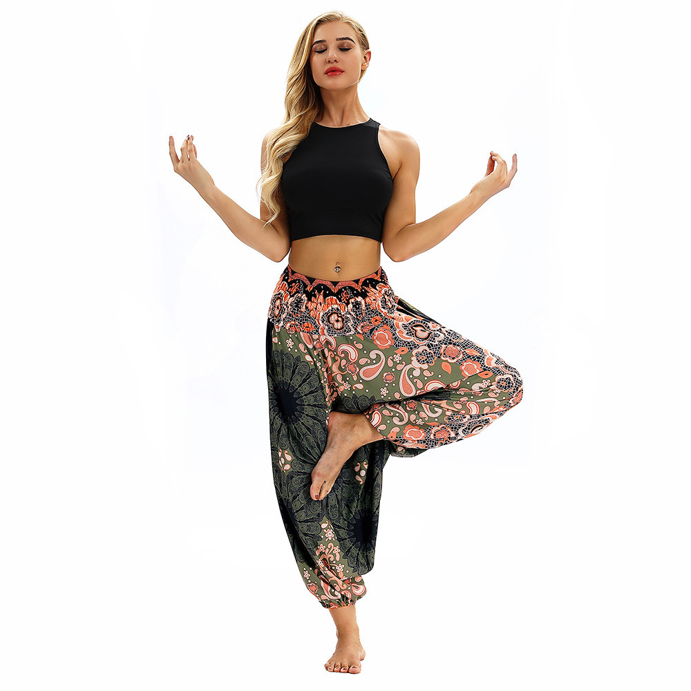 Women Men Pants Casual Woman High Waist Wide Leg Harem Trousers Baggy Boho Loose Aladdin Festival Hippy Jumpsuit Print Lady pant 27