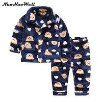 2 10Y Kids Clothes Winter Pajama Sets Thicken Homewear Set Baby Boy Pajamas Children Thickening Flannel