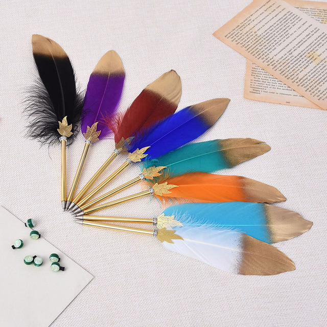 1Pc Cute Feather Ballpoint Pens 0.5mm Kawaii Ball Pens Gold Powder Pens For Writing School Office Supplies Novelty Stationery 2