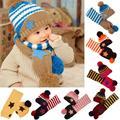 Lovely New Winter 5-Star Children Skullies Beanies Scarf Hat Set Baby Boys Girls Knitted kids Hats Caps Free shipping